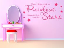 "Child's Bedroom Wall Sticker "" When It Rains Look For Rainbows.."" Vinyl Decal"